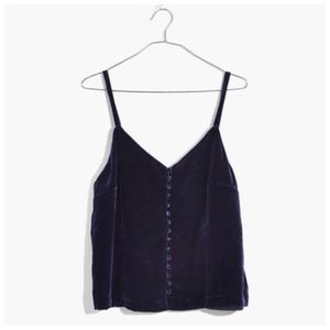 Madewell Velvet Button Down Camisole